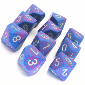 Blue & Red 'Silver Tetra' Speckled D10 Ten Sided Dice Set